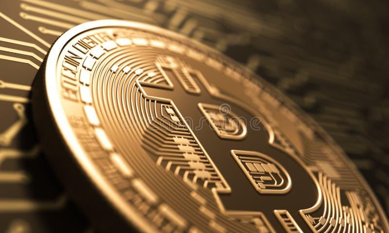 Moneda virtual Bitcoin en fondo de la placa de circuito impresa ilustración del vector