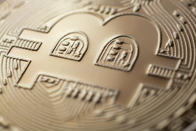Moneda virtual de la moneda del monet del primer de Bitcoin fotografía de archivo