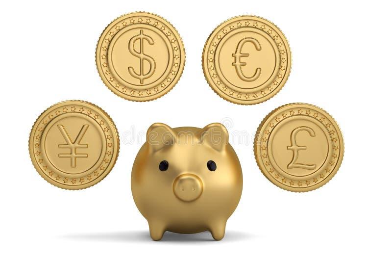 Moneda y hucha de oro ilustración 3D stock de ilustración