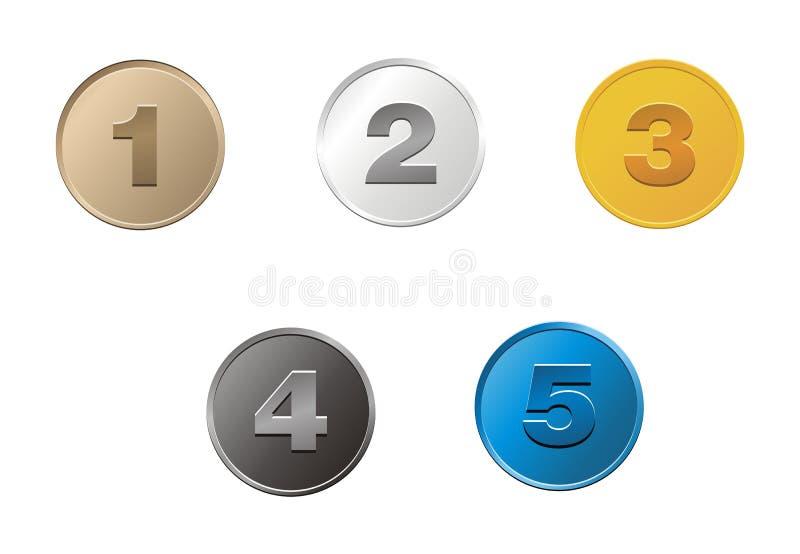 1,2,3,4,5 monedas ilustración del vector