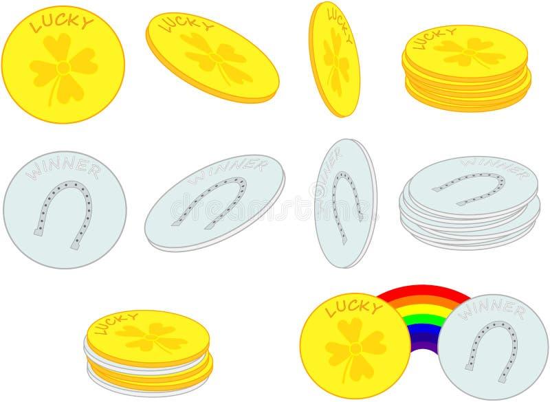 Monedas afortunadas ilustración del vector