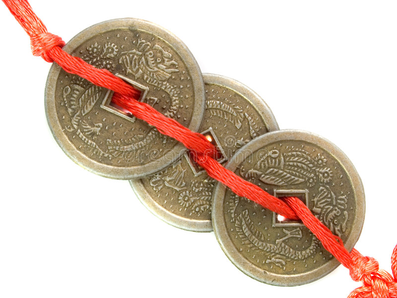 Monedas afortunadas de Feng Shui foto de archivo libre de regalías