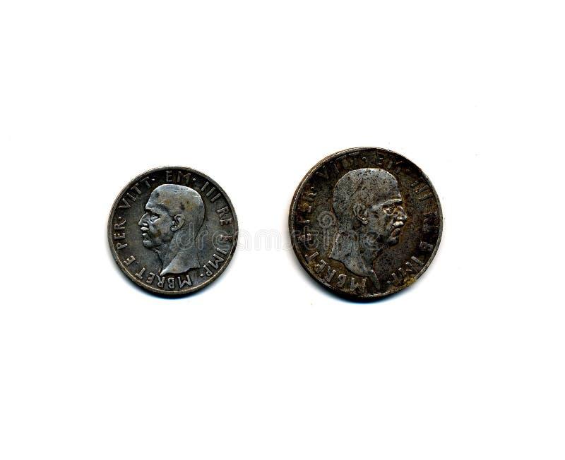 Monedas albanesas durante el período italiano 1939 del empleo imágenes de archivo libres de regalías