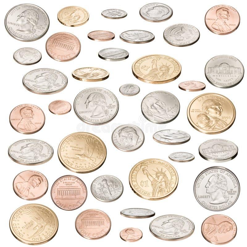 Monedas americanas aisladas imagen de archivo libre de regalías