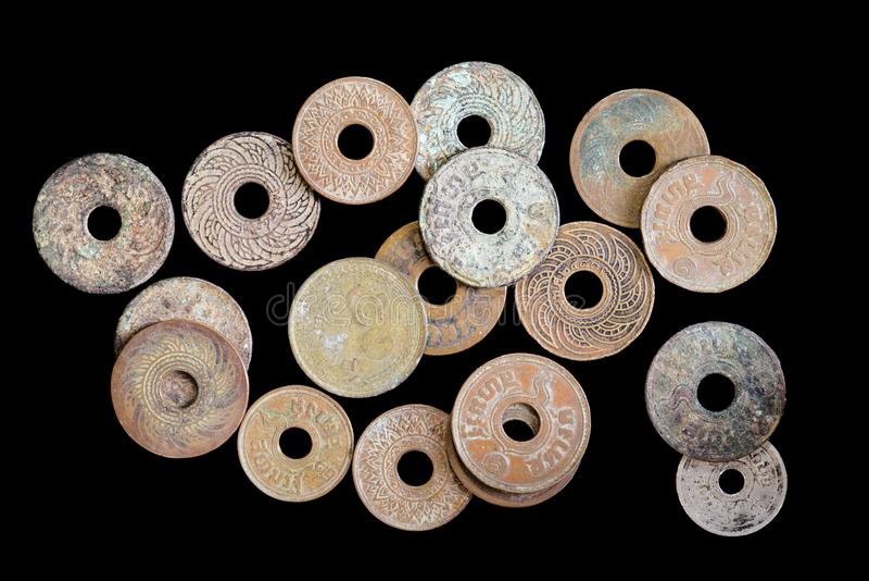 Monedas antiguas fotografía de archivo libre de regalías