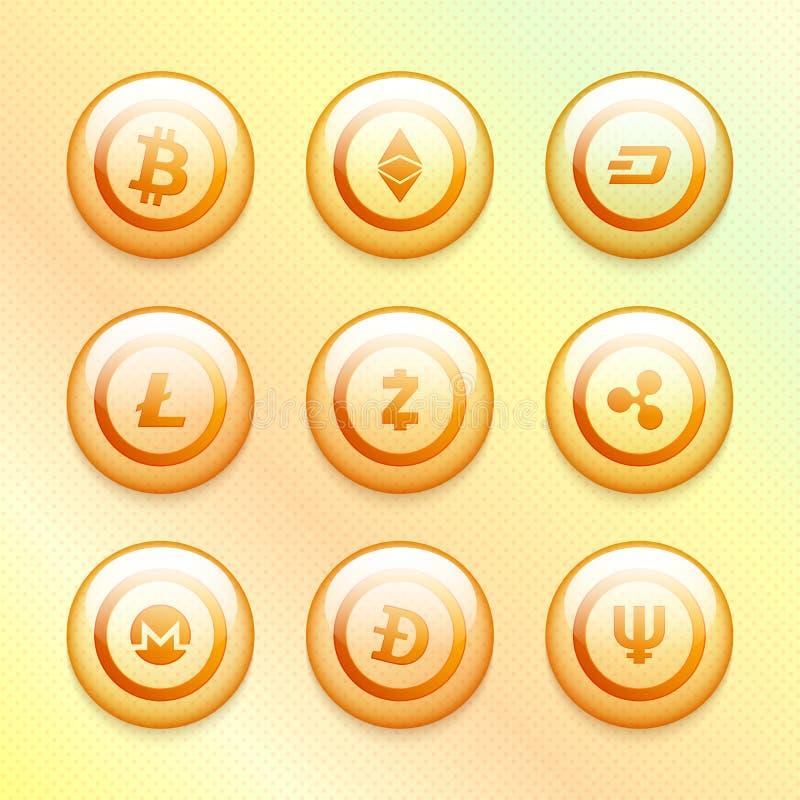Monedas brillantes de los cryptocurrencies fijadas ilustración del vector