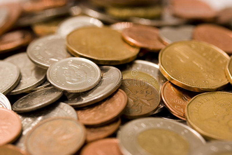 Monedas canadienses imagen de archivo libre de regalías