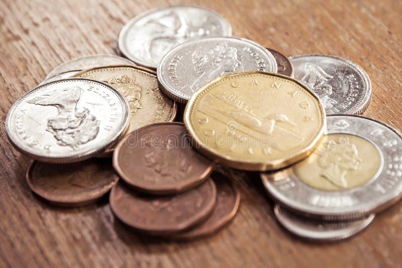 Monedas canadienses fotos de archivo libres de regalías