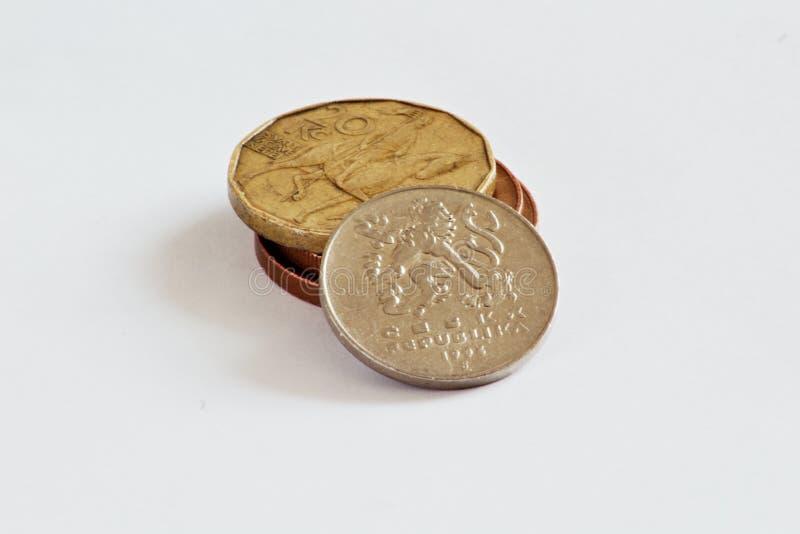 Monedas checas, coronas fotografía de archivo