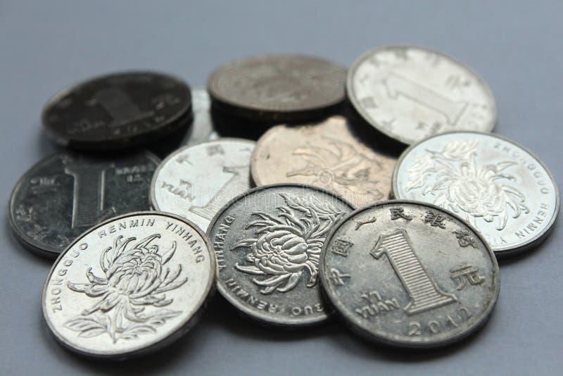 Monedas chinas de yuan fotografía de archivo