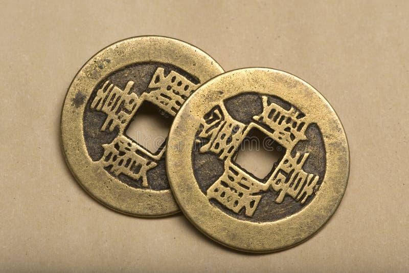 Monedas chinas viejas. fotografía de archivo