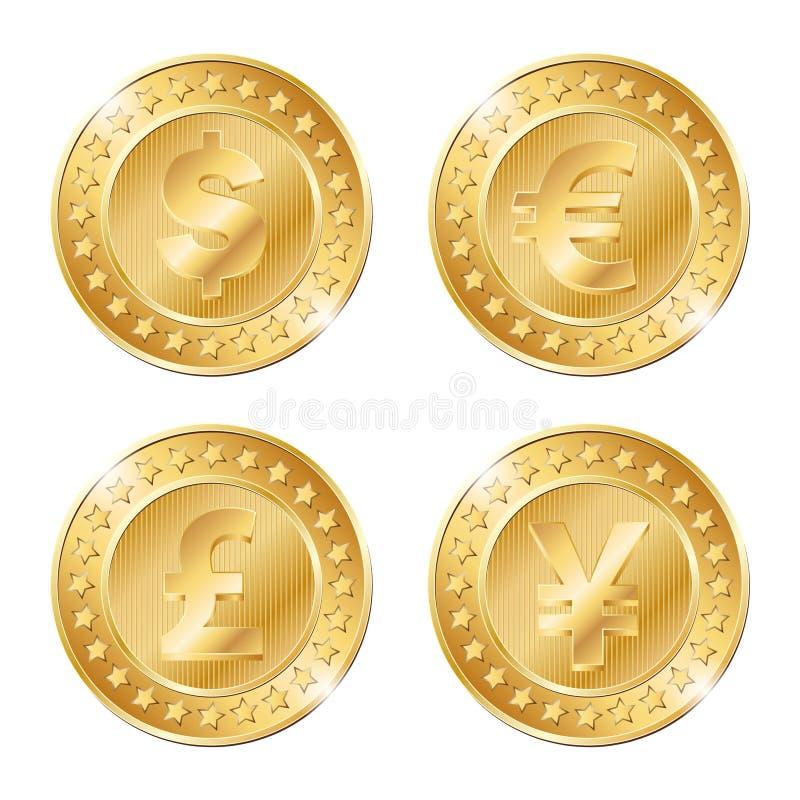 monedas con las muestras del dólar, del euro, de la libra y de yenes libre illustration