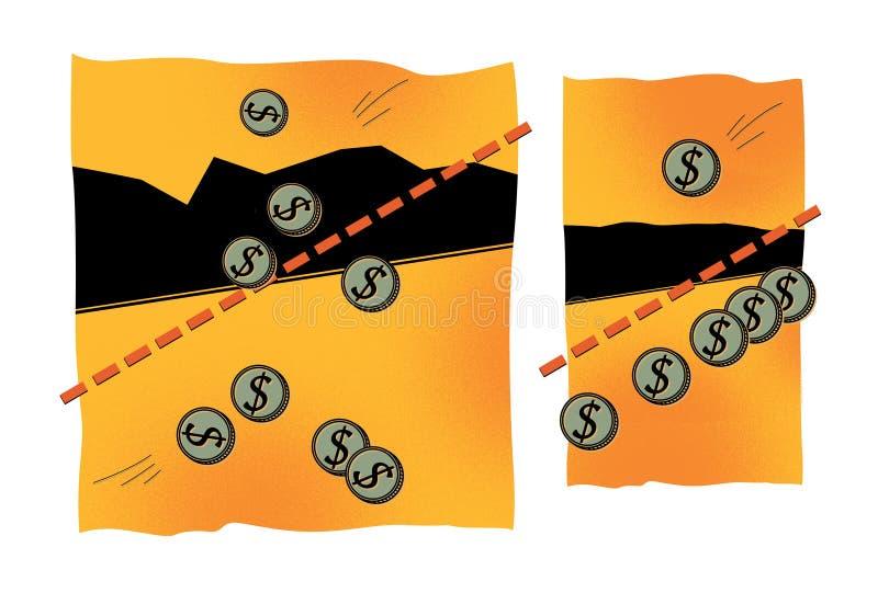 Monedas con una muestra de dólar Interés, beneficio, inversión, acumulación Solución gráfica linear En un fondo naranja-amarillo stock de ilustración