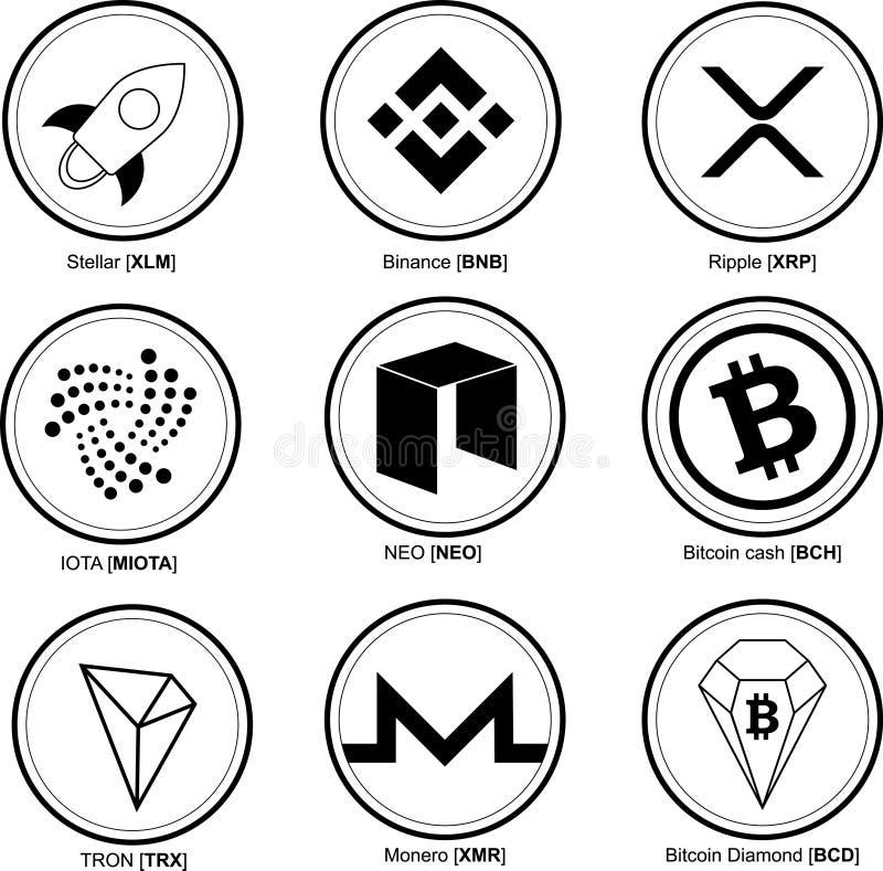 Monedas Crypto fijadas Moneda Crypto Efectivo de Bitcoin, diamante de Bitcoin, estelar, ondulación, iota, Tron, Binance, neo, Mon libre illustration