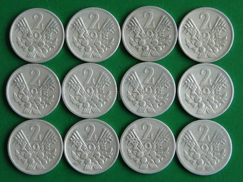 Monedas de aluminio viejas del zloty de Polonia 2 fotografía de archivo