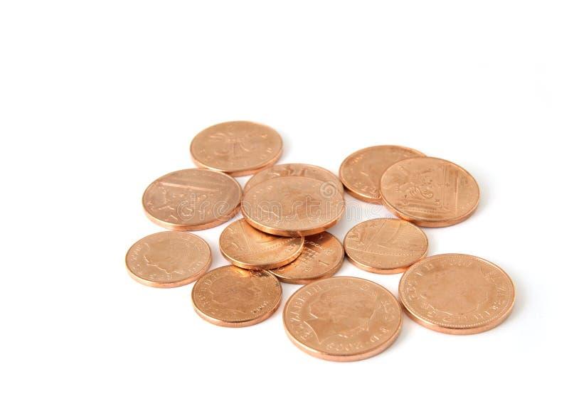 Monedas de cobre británicas fotos de archivo libres de regalías
