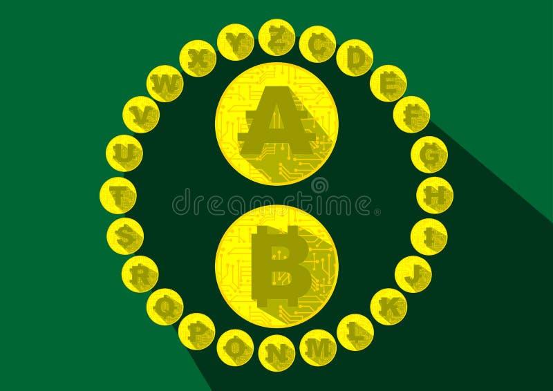 Monedas de Crytpocurrency del alfabeto del dinero electrónico imagen de archivo libre de regalías