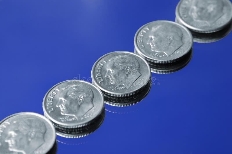 Monedas de diez centavos imagenes de archivo