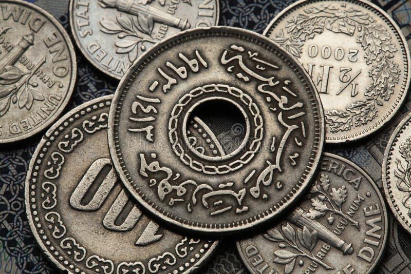 Monedas de Egipto fotografía de archivo