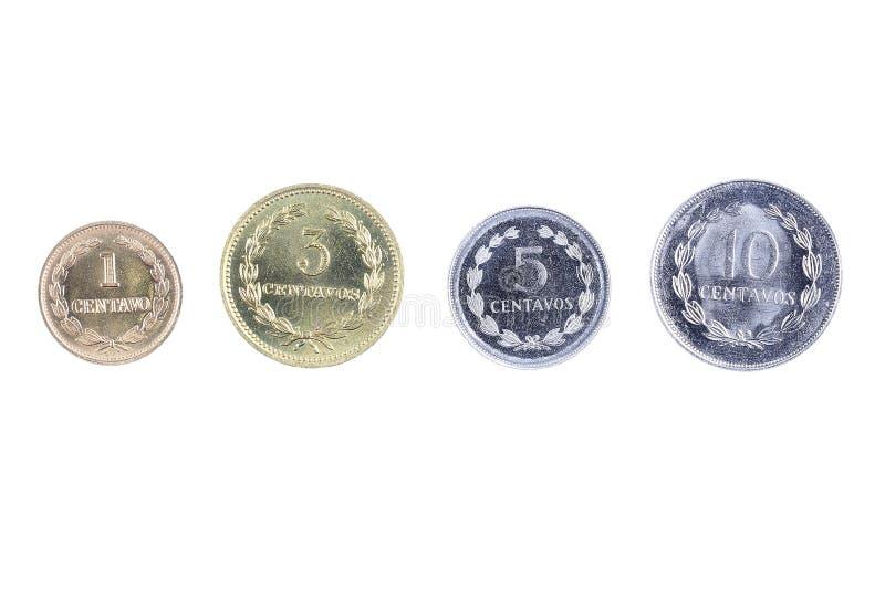 Monedas de El Salvador fotografía de archivo libre de regalías