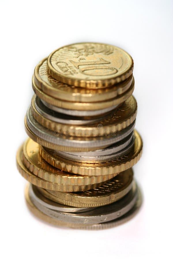 Monedas de Europa aisladas fotos de archivo
