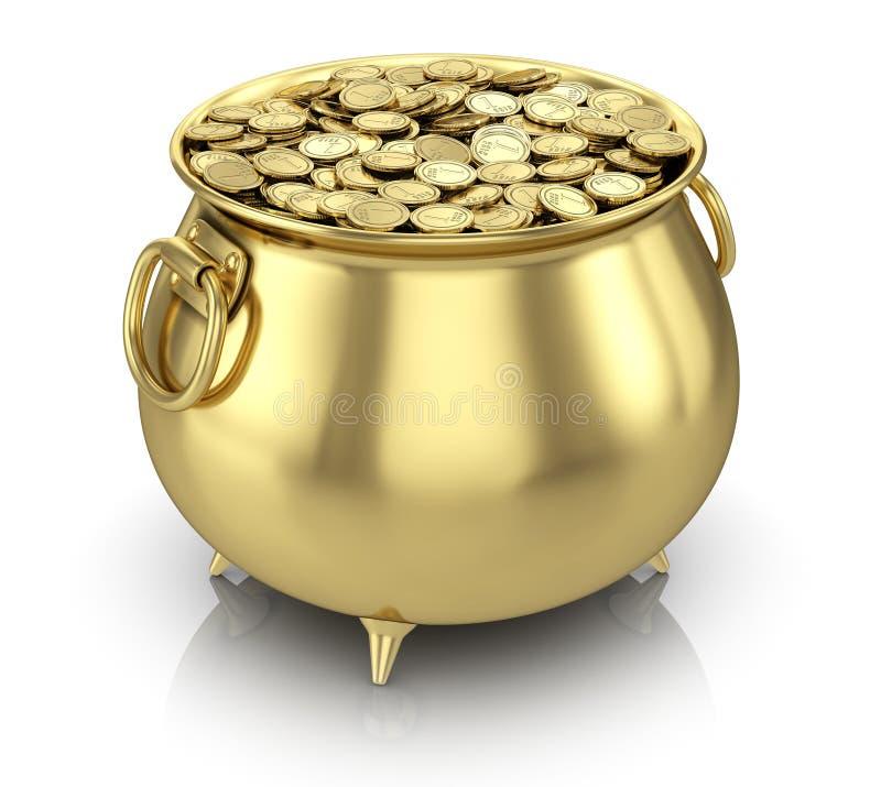 Monedas de la mina de oro ilustración del vector