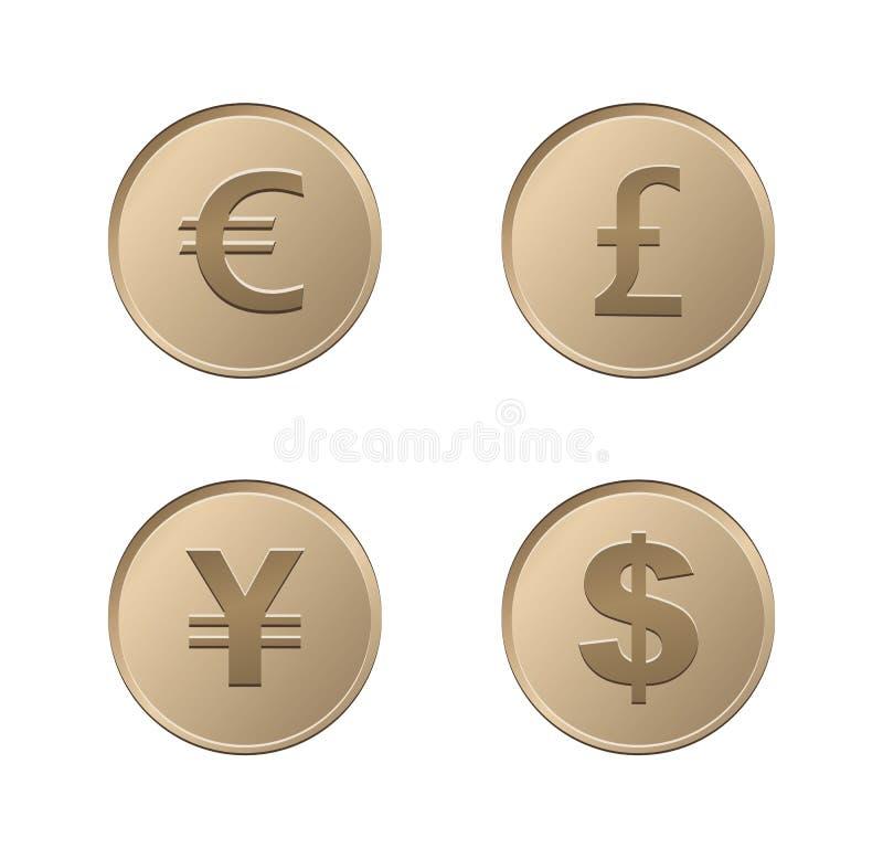 Monedas de la moneda - bronce ilustración del vector