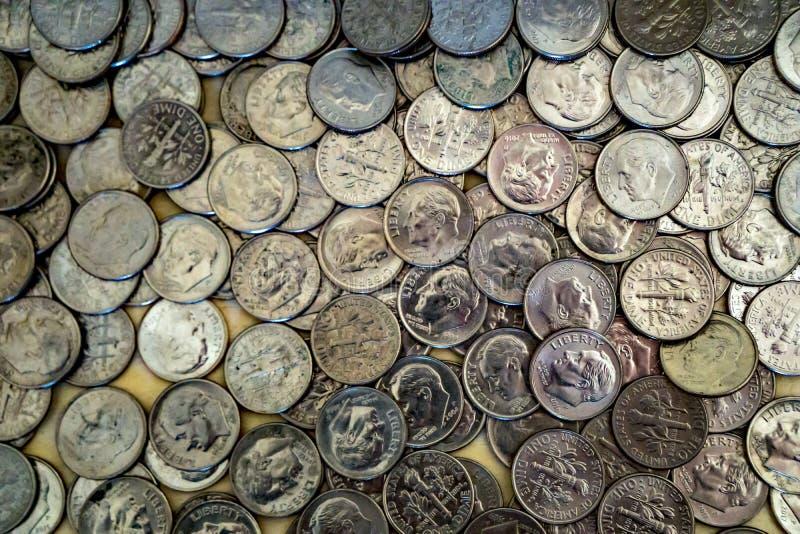 Monedas de la moneda de diez centavos de Estados Unidos imagen de archivo