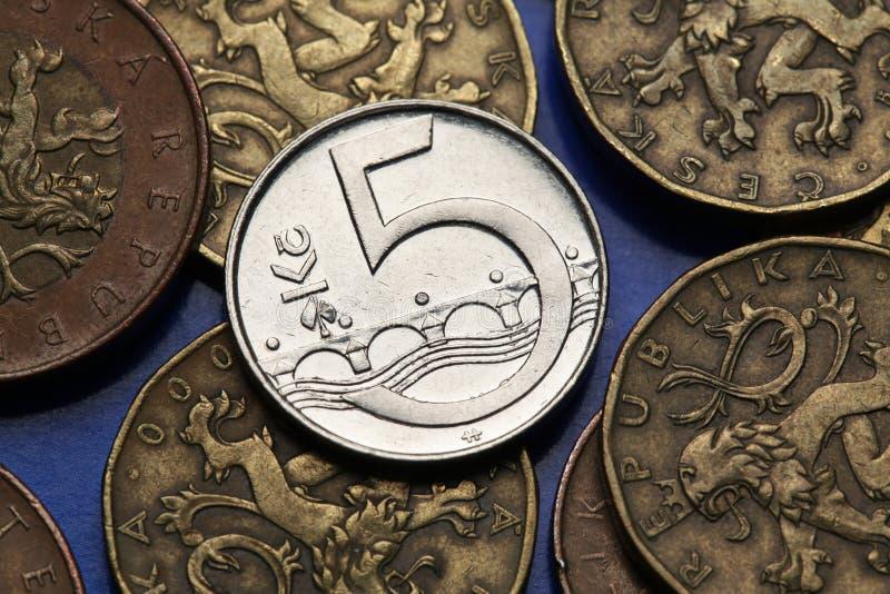Monedas de la República Checa foto de archivo libre de regalías