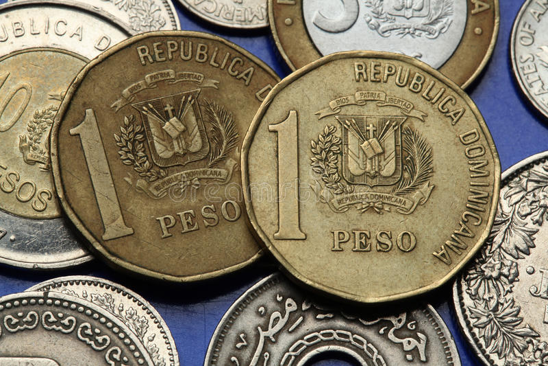 Monedas de la República Dominicana imágenes de archivo libres de regalías