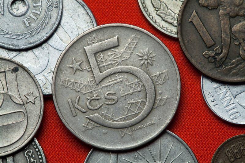 Monedas de la república socialista checoslovaco foto de archivo