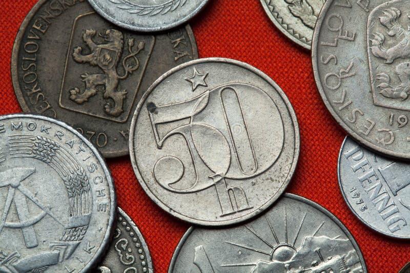 Monedas de la república socialista checoslovaco fotografía de archivo libre de regalías