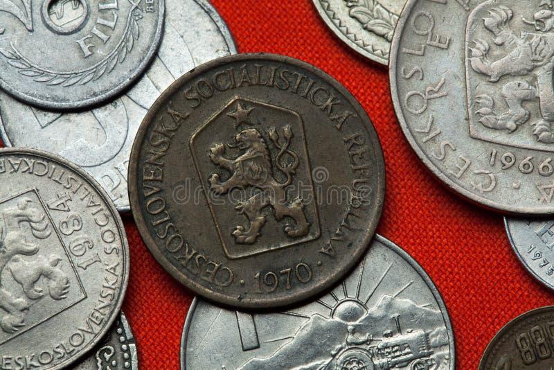 Monedas de la república socialista checoslovaco imagen de archivo