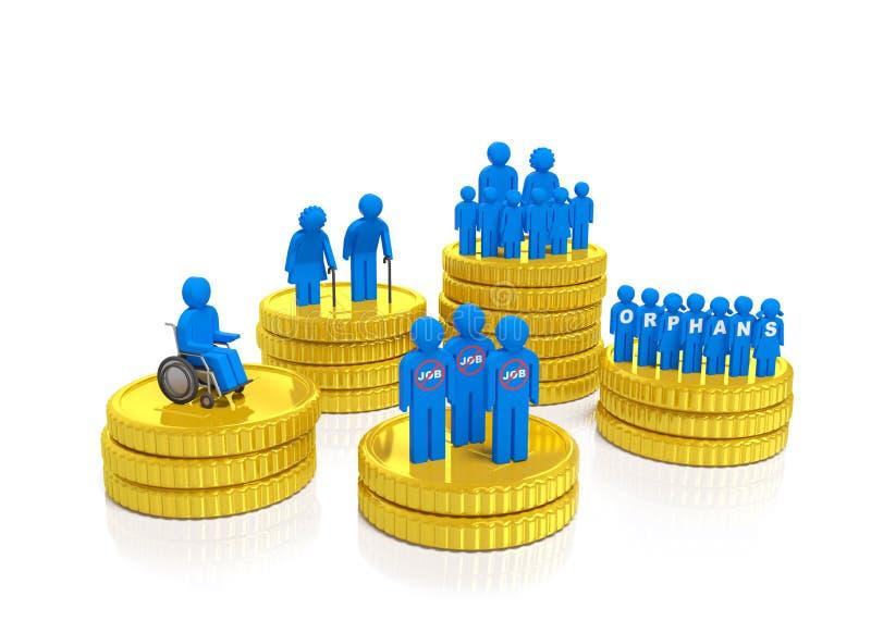 Monedas de la Seguridad Social ilustración del vector