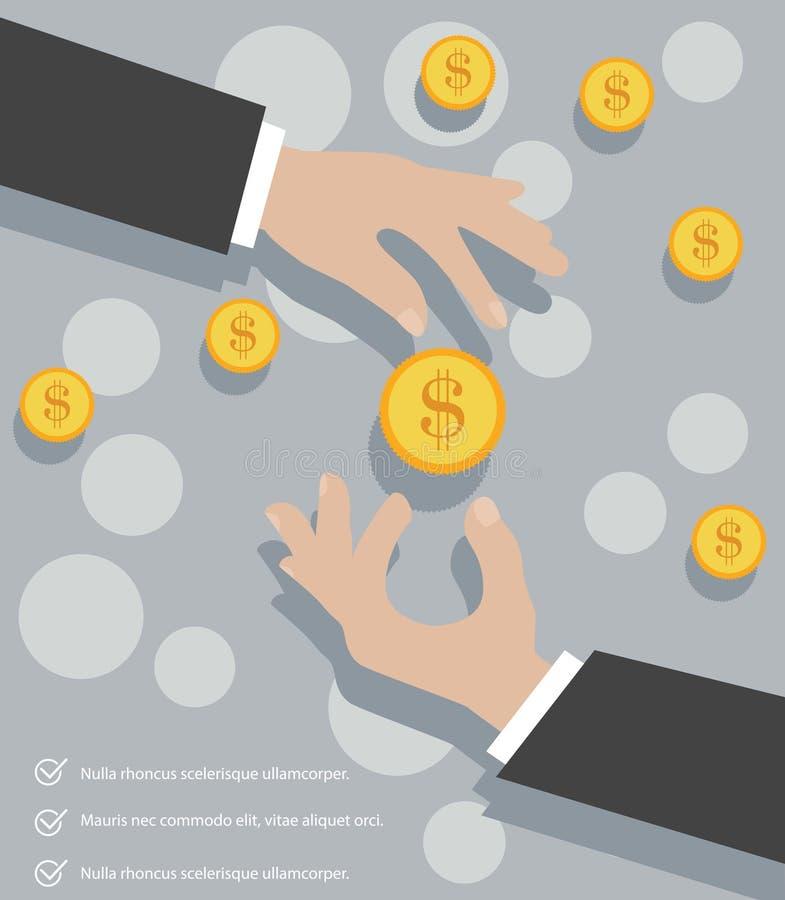 Monedas de las manos libre illustration