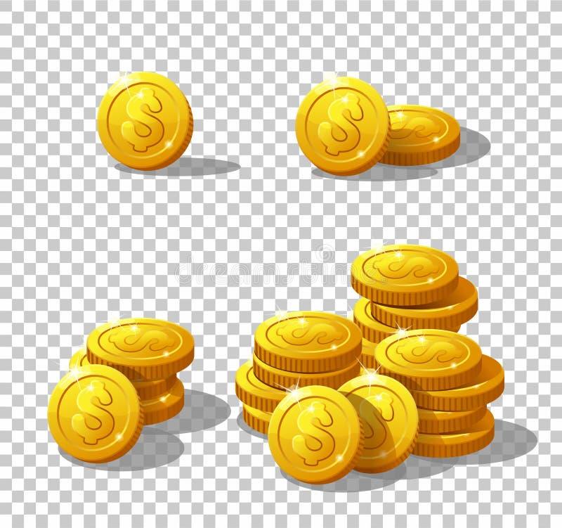 Monedas de los iconos para el interfaz del juego stock de ilustración