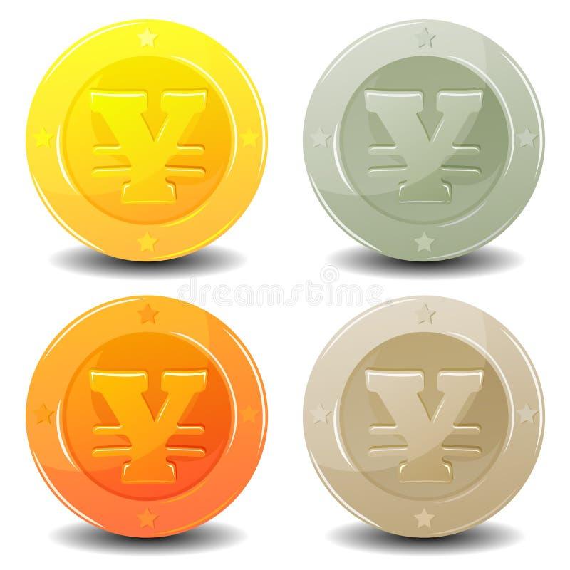 Monedas de los yenes fijadas