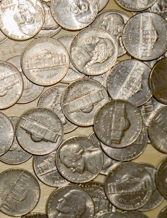 Monedas de níquel de Estados Unidos fotos de archivo