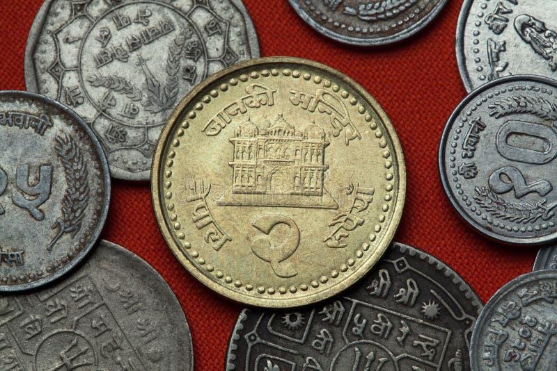 Monedas de Nepal Templo de Janaki Mandir en Janakpur fotografía de archivo