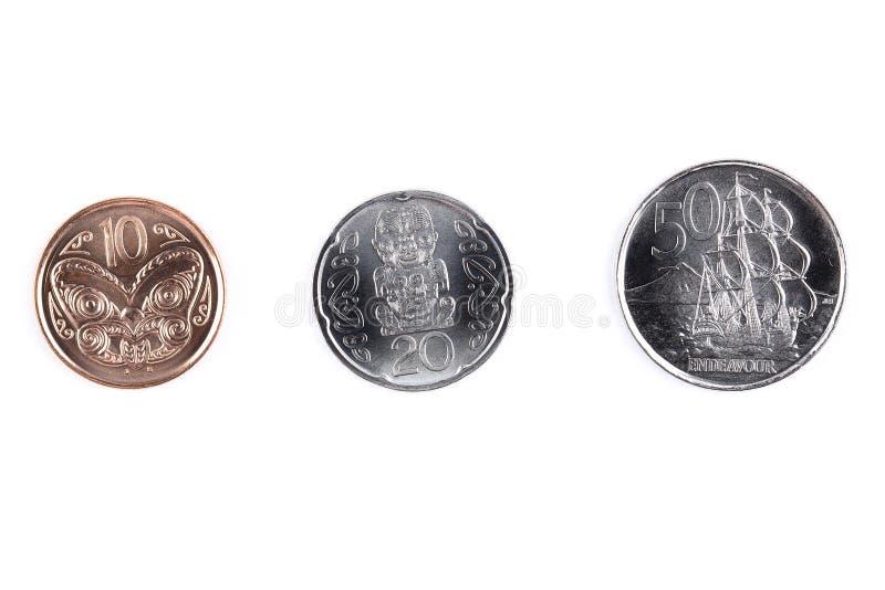 Monedas de Nueva Zelanda fotografía de archivo