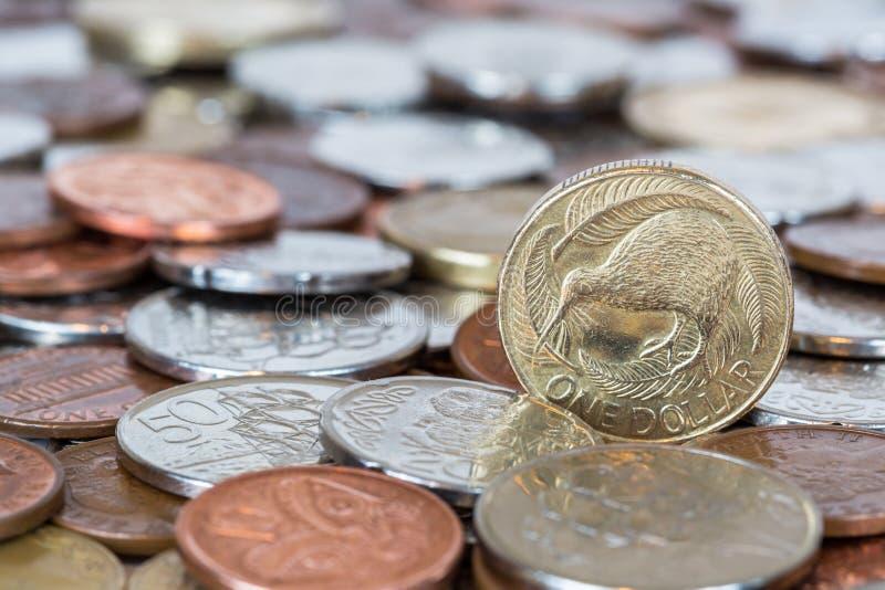 Monedas de Nueva Zelanda fotos de archivo libres de regalías