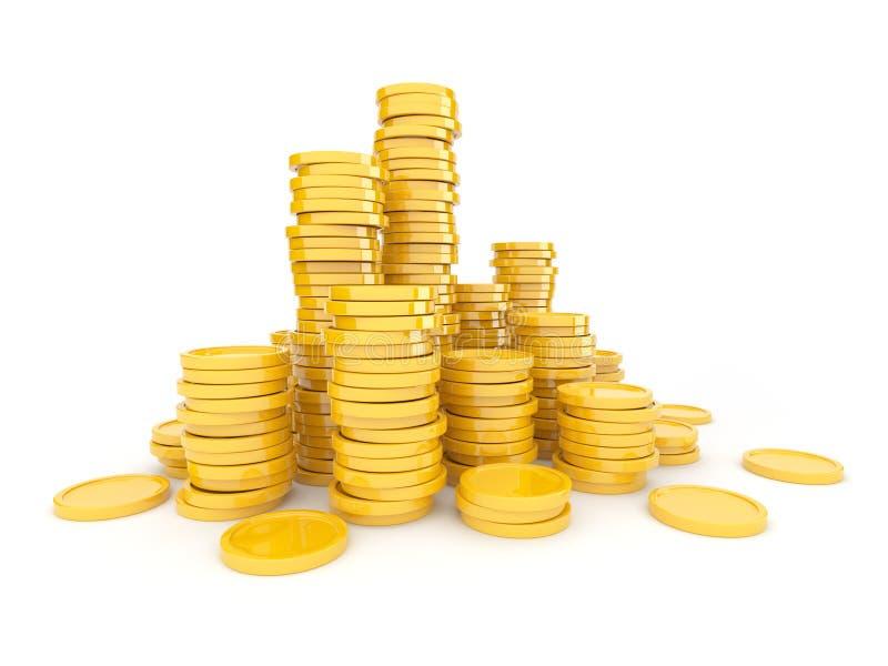 Monedas de oro 3D ilustración del vector