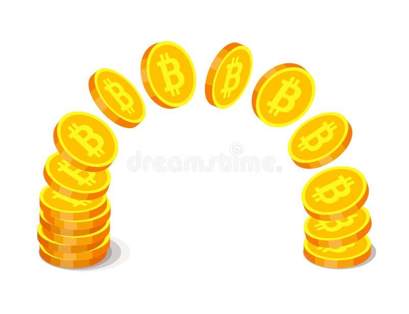 Monedas de oro con símbolos del bitcoin libre illustration