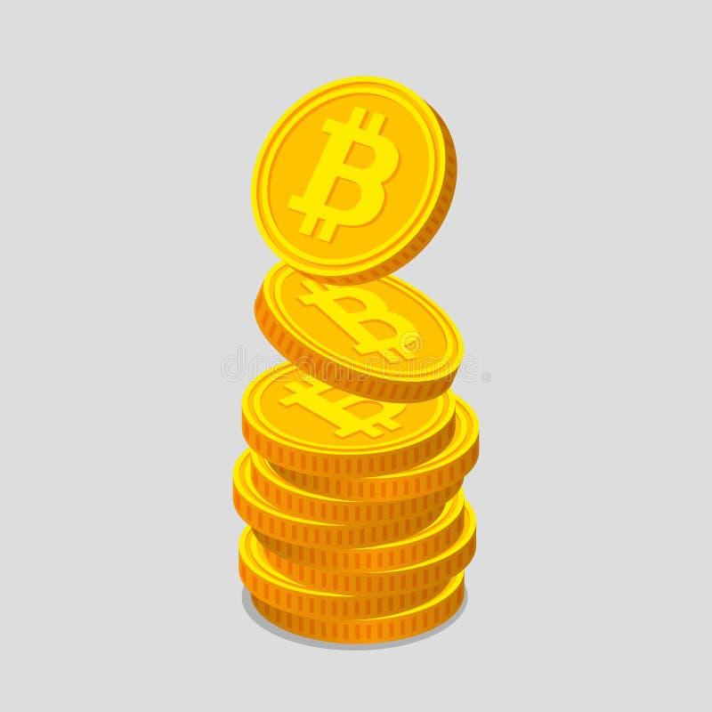 Monedas de oro con símbolos del bitcoin ilustración del vector