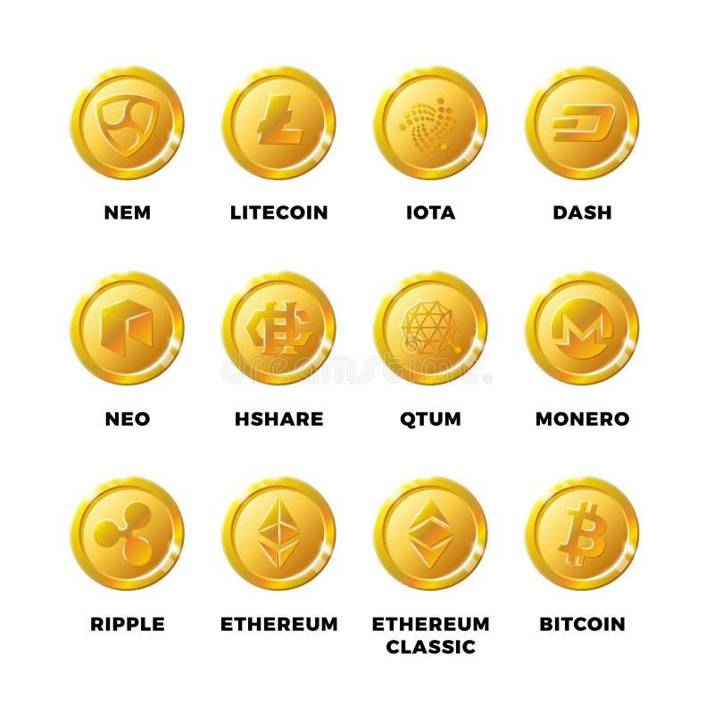 Monedas de oro de Cryptocurrency con el bitcoin, sistema del vector de los símbolos del ethereum del litecoin libre illustration