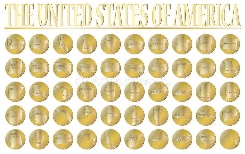 50 monedas de oro de Estados Unidos libre illustration