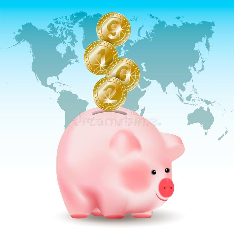 Monedas de oro del dinero del metal brillante simbólico con los números 2019 del Año Nuevo que bajan en el banco del cerdo del di stock de ilustración