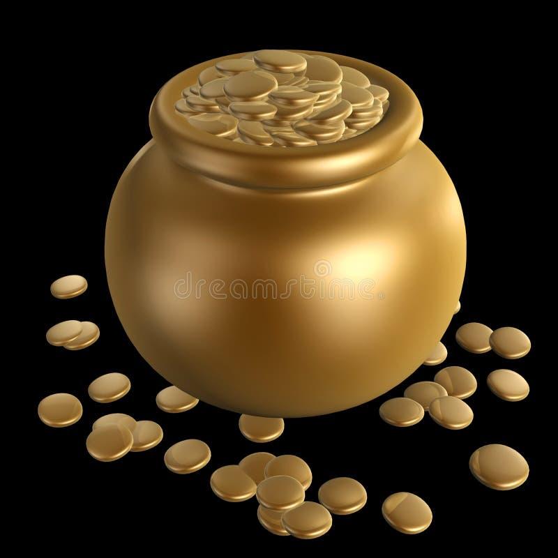 Monedas de oro en tarro stock de ilustración