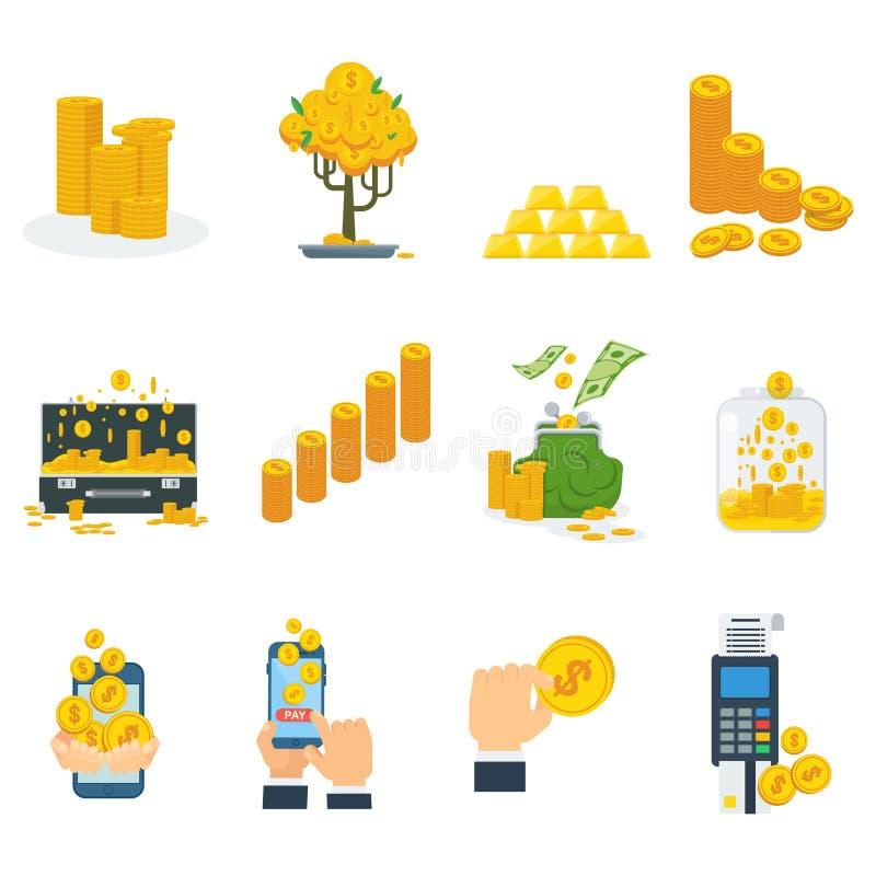 Monedas de oro fijadas libre illustration