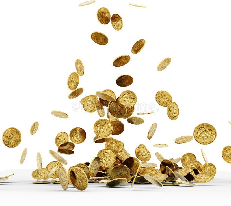 Monedas de oro que caen aisladas stock de ilustración